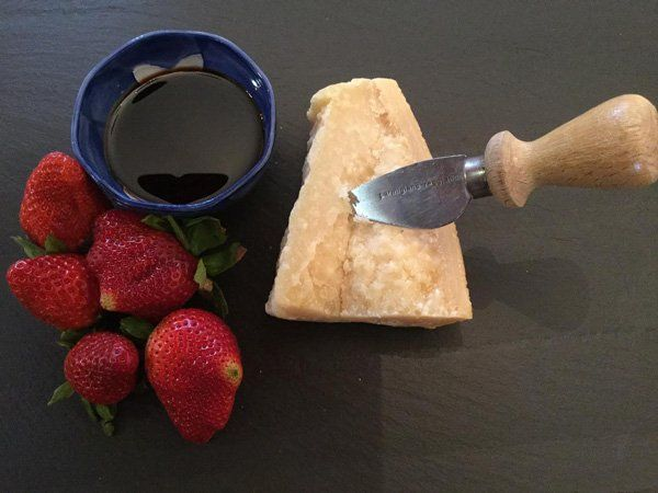 balsamic vinegar, parmesan, strawberries