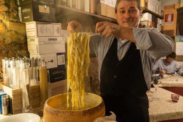 tagliatelli and pecorino