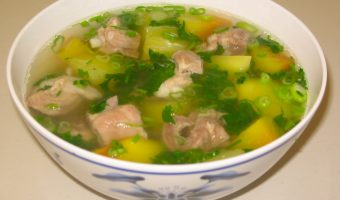 Vietnamese Meatball and Watercress Soup or Canh