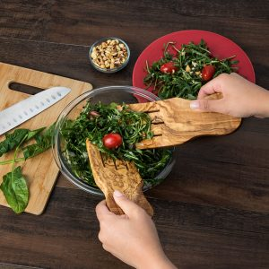 Olive Wood Salad Hands and Salad