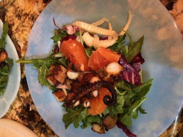 Smoked octopus citrus salad