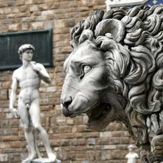 Image of David and Lion in Florence