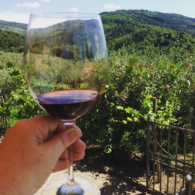 countryside of tuscany seen through a glass of wine