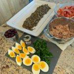 ingredients for Mediterranean lentil salad