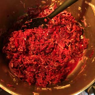 red cabbage and cranberries